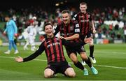 3 August 2021; Ali Coote of Bohemians celebrates after scoring his side's first goal with team-mate Liam Burt during the UEFA Europa Conference League third qualifying round first leg match between Bohemians and PAOK at Aviva Stadium in Dublin. Photo by Harry Murphy/Sportsfile