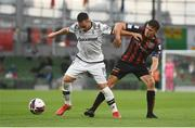 3 August 2021; Andrija Živkovic of PAOK in action against Keith Buckley of Bohemians during the UEFA Europa Conference League third qualifying round first leg match between Bohemians and PAOK at Aviva Stadium in Dublin. Photo by Ben McShane/Sportsfile
