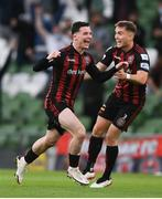 3 August 2021; Ali Coote of Bohemians celebrates with Anto Breslin after scoring their side's second goal during the UEFA Europa Conference League third qualifying round first leg match between Bohemians and PAOK at Aviva Stadium in Dublin. Photo by Harry Murphy/Sportsfile