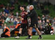 3 August 2021; Ali Coote of Bohemians is embraced by Bohemians manager Keith Long during the UEFA Europa Conference League third qualifying round first leg match between Bohemians and PAOK at Aviva Stadium in Dublin. Photo by Harry Murphy/Sportsfile