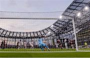 3 August 2021; Alexandros Paschalakis of PAOK fails to keep out Ali Coote of Bohemians second goal during the UEFA Europa Conference League third qualifying round first leg match between Bohemians and PAOK at Aviva Stadium in Dublin. Photo by Harry Murphy/Sportsfile