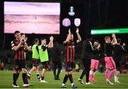 3 August 2021; Keith Ward of Bohemians, centre, applauds fans after during the UEFA Europa Conference League third qualifying round first leg match between Bohemians and PAOK at Aviva Stadium in Dublin. Photo by Harry Murphy/Sportsfile