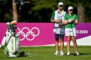 4 August 2021; Stephenie Meadow of Ireland with her caddie Kyle Kallan on the 15th tee box during round one of the women's individual stroke play at the Kasumigaseki Country Club during the 2020 Tokyo Summer Olympic Games in Kawagoe, Saitama, Japan. Photo by Brendan Moran/Sportsfile