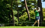 4 August 2021; Leona Maguire of Ireland watches her drive off the 18th tee box during round one of the women's individual stroke play at the Kasumigaseki Country Club during the 2020 Tokyo Summer Olympic Games in Kawagoe, Saitama, Japan. Photo by Brendan Moran/Sportsfile