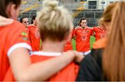 1 August 2021;  Armagh players including Aimee Mackin, right, dejected after the TG4 Ladies Football All-Ireland Championship Quarter-Final match between Armagh and Meath at St Tiernach's Park in Clones, Monaghan. Photo by Sam Barnes/Sportsfile