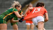 1 August 2021; Aimee Mackin of Armagh has her jersey pulled by Katie Newe of Meath during the TG4 Ladies Football All-Ireland Championship Quarter-Final match between Armagh and Meath at St Tiernach's Park in Clones, Monaghan. Photo by Sam Barnes/Sportsfile