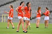 1 August 2021; Megan Sheridan, centre, and Tiarna Grimes, centre left, both of Armagh, dejected after the TG4 Ladies Football All-Ireland Championship Quarter-Final match between Armagh and Meath at St Tiernach's Park in Clones, Monaghan. Photo by Sam Barnes/Sportsfile