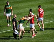 25 July 2021; Gavin White of Kerry and Kevin O'Driscoll of Cork tussle during the Munster GAA Football Senior Championship Final match between Kerry and Cork at Fitzgerald Stadium in Killarney, Kerry. Photo by Piaras Ó Mídheach/Sportsfile