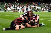 3 August 2021; Ali Coote of Bohemians celebrates after scoring his side's first goal with team-mates Georgie Kelly, Liam Burt and Ross Tierney during the UEFA Europa Conference League third qualifying round first leg match between Bohemians and PAOK at Aviva Stadium in Dublin. Photo by Harry Murphy/Sportsfile