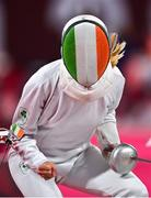 5 August 2021; Natalya Coyle of Ireland celebrates after defeating Rena Shimazu of Japan in the women's individual fencing ranking round at Musashino Forest Sport Plaza on day 13 during the 2020 Tokyo Summer Olympic Games in Tokyo, Japan. Photo by Brendan Moran/Sportsfile