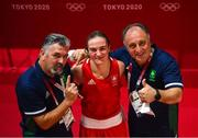 5 August 2021; Kellie Harrington of Ireland celebrates with coaches Zaur Antia, left, and John Conlan after defeating Sudaporn Seesondee of Thailand in their women's lightweight semi-final bout at the Kokugikan Arena during the 2020 Tokyo Summer Olympic Games in Tokyo, Japan. Photo by Stephen McCarthy/Sportsfile