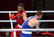 5 August 2021; Hebert Sousa of Brasil, left, and Gleb Bakshi of Russian Olympic Committee in their men's middleweight semi-final bout at the Kokugikan Arena during the 2020 Tokyo Summer Olympic Games in Tokyo, Japan. Photo by Stephen McCarthy/Sportsfile