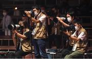5 August 2021; Photographers working during the boxing session at the Kokugikan Arena during the 2020 Tokyo Summer Olympic Games in Tokyo, Japan. Photo by Stephen McCarthy/Sportsfile
