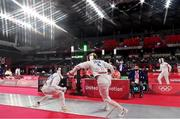5 August 2021; (EDITOR'S NOTE; This image was created using a special effects camera filter) Natalya Coyle of Ireland, right, in action against Uliana Batashova of Russian Olympic Committee during the women's individual fencing ranking round at Musashino Forest Sport Plaza on day 13 during the 2020 Tokyo Summer Olympic Games in Tokyo, Japan. Photo by Brendan Moran/Sportsfile