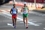 5 August 2021; David Kenny of Ireland, right, and Jhon Alexander Castaneda of Colombia in action during the men's 20 kilometre walk final at Sapporo Odori Park on day 13 during the 2020 Tokyo Summer Olympic Games in Sapporo, Japan. Photo by Ramsey Cardy/Sportsfile