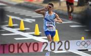 5 August 2021; Massimo Stano of Italy celebrates before crossing the finish line to win the men's 20 kilometre walk final at Sapporo Odori Park on day 13 during the 2020 Tokyo Summer Olympic Games in Sapporo, Japan. Photo by Ramsey Cardy/Sportsfile