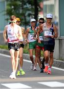 5 August 2021; David Kenny of Ireland, centre, in action during the men's 20 kilometre walk final at Sapporo Odori Park on day 13 during the 2020 Tokyo Summer Olympic Games in Sapporo, Japan. Photo by Ramsey Cardy/Sportsfile