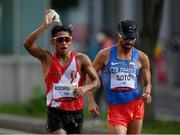 5 August 2021; Cesar Augusto Rodriguez of Peru, left, and Manuel Esteban Soto of Colombia during the men's 20 kilometre walk final at Sapporo Odori Park on day 13 during the 2020 Tokyo Summer Olympic Games in Sapporo, Japan. Photo by Ramsey Cardy/Sportsfile