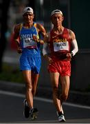 5 August 2021; Kaihua Wang of China, right, and Sandeep Kumar of India in action during the men's 20 kilometre walk final at Sapporo Odori Park on day 13 during the 2020 Tokyo Summer Olympic Games in Sapporo, Japan. Photo by Ramsey Cardy/Sportsfile