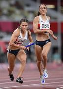 5 August 2021; Zoey Clark of Great Britain takes the baton from team-mate Emily Diamond during round one of the women's 4 x 400 metre relay at the Olympic Stadium on day 13 during the 2020 Tokyo Summer Olympic Games in Tokyo, Japan. Photo by Stephen McCarthy/Sportsfile