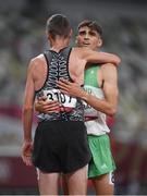 5 August 2021; Andrew Coscoran of Ireland with Nick Willis of New Zealand after the semi-final of the men's 1500 metres at the Olympic Stadium on day 13 during the 2020 Tokyo Summer Olympic Games in Tokyo, Japan. Photo by Stephen McCarthy/Sportsfile