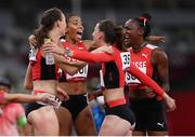 5 August 2021; The Switzerland team react after round one of the women's 4 x 400 metre relay at the Olympic Stadium on day 13 during the 2020 Tokyo Summer Olympic Games in Tokyo, Japan. Photo by Stephen McCarthy/Sportsfile