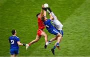 31 July 2021; Conor McKenna of Tyrone contests a high a ball with Andrew Woods of Monaghan, centre, and Monaghan goalkeeper Rory Beggan during the Ulster GAA Football Senior Championship Final match between Monaghan and Tyrone at Croke Park in Dublin. Photo by Sam Barnes/Sportsfile
