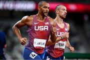 5 August 2021; Garrett Scantling, left, and Zachery Ziemek, both USA, in action during the 1500 metres of the men's decathlon at the Olympic Stadium on day 13 during the 2020 Tokyo Summer Olympic Games in Tokyo, Japan. Photo by Stephen McCarthy/Sportsfile