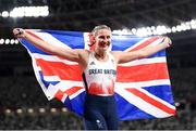 5 August 2021; Bronze medalist Holly Bradshaw of Great Britain celebrates after the women's pole vault final at the Olympic Stadium on day 13 during the 2020 Tokyo Summer Olympic Games in Tokyo, Japan. Photo by Stephen McCarthy/Sportsfile