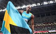 5 August 2021; Steven Gardiner of Bahamas reacts after winning the gold medal in the men's 400 metres final at the Olympic Stadium on day 13 during the 2020 Tokyo Summer Olympic Games in Tokyo, Japan. Photo by Stephen McCarthy/Sportsfile