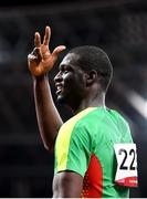 5 August 2021; Kirani James of Grenada reacts after winning the bronze medal in the men's 400 metres final at the Olympic Stadium on day 13 during the 2020 Tokyo Summer Olympic Games in Tokyo, Japan. Photo by Stephen McCarthy/Sportsfile