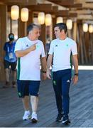 6 August 2021; Team Ireland boxing head coach Zaur Antia, left, and Team Ireland boxing high performance director Bernard Dunne pose for a portrait at a media conference in the Olympic Village during the 2020 Tokyo Summer Olympic Games in Tokyo, Japan. Photo by Stephen McCarthy/Sportsfile