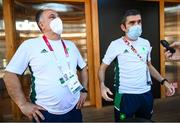 6 August 2021; Team Ireland boxing high performance director Bernard Dunne, right, and Team Ireland boxing head coach Zaur Antia during a media conference in the Olympic Village during the 2020 Tokyo Summer Olympic Games in Tokyo, Japan. Photo by Stephen McCarthy/Sportsfile