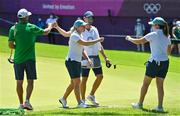 6 August 2021; Stephanie Meadow, centre, and Leona Maguire of Ireland fist bump alongside their caddies Diarmuid Byrne, left, and Kyle Kallan after round three of the women's individual stroke play at the Kasumigaseki Country Club during the 2020 Tokyo Summer Olympic Games in Kawagoe, Saitama, Japan. Photo by Brendan Moran/Sportsfile