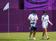 6 August 2021; Madelene Sagstrom of Sweden with her caddie Shane Codd during round three of the women's individual stroke play at the Kasumigaseki Country Club during the 2020 Tokyo Summer Olympic Games in Kawagoe, Saitama, Japan. Photo by Brendan Moran/Sportsfile
