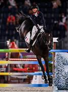 6 August 2021; Penelope Leprevost of France riding Vancouver De Lanlore during the jumping team qualifier at the Equestrian Park during the 2020 Tokyo Summer Olympic Games in Tokyo, Japan. Photo by Brendan Moran/Sportsfile