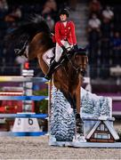6 August 2021; Jessica Springsteen of the United States riding Don Juan Van De Donkhoeve during the jumping team qualifier at the Equestrian Park during the 2020 Tokyo Summer Olympic Games in Tokyo, Japan. Photo by Brendan Moran/Sportsfile