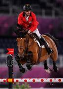 6 August 2021; Pieter Devos of Belgium riding Claire Z during the jumping team qualifier at the Equestrian Park during the 2020 Tokyo Summer Olympic Games in Tokyo, Japan. Photo by Brendan Moran/Sportsfile