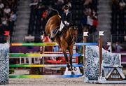 6 August 2021; Malin Baryard-Johnsson of Sweden riding Indiana during the jumping team qualifier at the Equestrian Park during the 2020 Tokyo Summer Olympic Games in Tokyo, Japan. Photo by Brendan Moran/Sportsfile