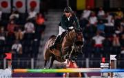 6 August 2021; Ali Al Ahrach of Morocco riding Golden Lady during the jumping team qualifier at the Equestrian Park during the 2020 Tokyo Summer Olympic Games in Tokyo, Japan. Photo by Brendan Moran/Sportsfile