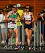 7 August 2021; Fionnuala McCormack of Ireland, left, and Jess Piasecki of Great Britain in action during the women's marathon at Sapporo Odori Park on day 15 during the 2020 Tokyo Summer Olympic Games in Sapporo, Japan. Photo by Ramsey Cardy/Sportsfile