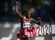 7 August 2021; Peres Jepchirchir of Kenya crosses the finish line to win the women's marathon at Sapporo Odori Park on day 15 during the 2020 Tokyo Summer Olympic Games in Sapporo, Japan. Photo by Ramsey Cardy/Sportsfile