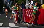 7 August 2021; Fionnuala McCormack of Ireland, left, in action during the women's marathon at Sapporo Odori Park on day 15 during the 2020 Tokyo Summer Olympic Games in Sapporo, Japan. Photo by Ramsey Cardy/Sportsfile