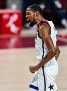 7 August 2021; Kevin Durant of USA celebrates scoring a basket during the men's gold medal match between the USA and France at the Saitama Super Arena during the 2020 Tokyo Summer Olympic Games in Tokyo, Japan. Photo by Brendan Moran/Sportsfile