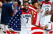 7 August 2021; Kevin Durant of USA celebrates after the men's gold medal match between the USA and France at the Saitama Super Arena during the 2020 Tokyo Summer Olympic Games in Tokyo, Japan. Photo by Brendan Moran/Sportsfile