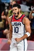 7 August 2021; Jayson Tatum of USA celebrates during the men's gold medal match between the USA and France at the Saitama Super Arena during the 2020 Tokyo Summer Olympic Games in Tokyo, Japan. Photo by Brendan Moran/Sportsfile