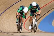 7 August 2021; Mark Downey, right, and Felix English of Ireland in action during the men's madison race at Izu velodrome on day 15 during the 2020 Tokyo Summer Olympic Games in Shizuoka, Japan. Photo by Alex Broadway/Sportsfile