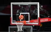 7 August 2021; A general view of the backboard, ring and basketball during the men's gold medal match between the USA and France at the Saitama Super Arena during the 2020 Tokyo Summer Olympic Games in Tokyo, Japan. Photo by Brendan Moran/Sportsfile
