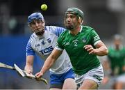 7 August 2021; Seán Finn of Limerick in action against Austin Gleeson of Waterford during the GAA Hurling All-Ireland Senior Championship semi-final match between Limerick and Waterford at Croke Park in Dublin. Photo by Piaras Ó Mídheach/Sportsfile