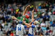 7 August 2021; Barry Nash of Limerick in action against Austin Gleeson and Jack Fagan of Waterford during the GAA Hurling All-Ireland Senior Championship semi-final match between Limerick and Waterford at Croke Park in Dublin. Photo by Seb Daly/Sportsfile